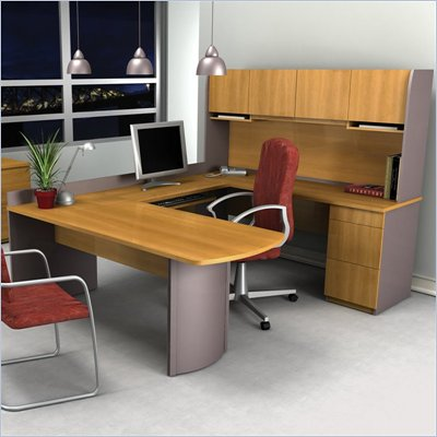 Bestar Executive U-Shape Wood Office Set with Hutch in Cappuccino Cherry & Slate