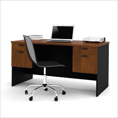 Bestar Hampton Home Office Computer Desk in Tuscany Brown &amp; Black