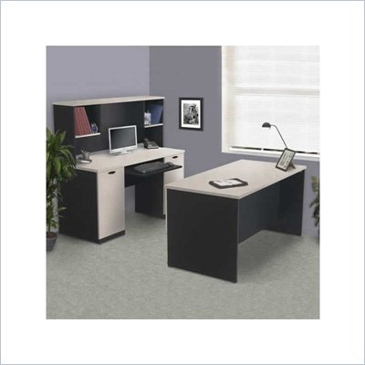 Bestar Hampton Home Office Desk Set in Sand Granite &amp; Charcoal