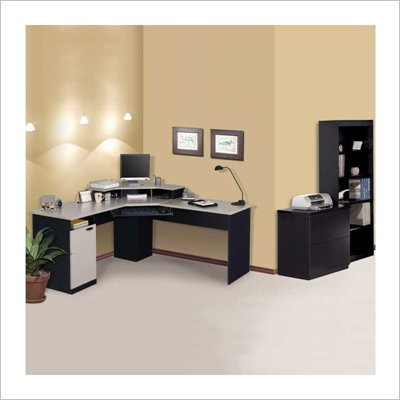 Bestar Hampton Corner Computer Desk Set in Sand Granite &amp; Charcoal