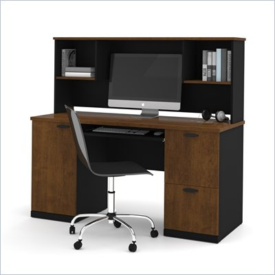 Bestar Hampton Office Computer Desk with Hutch in Tuscany Brown &amp; Black