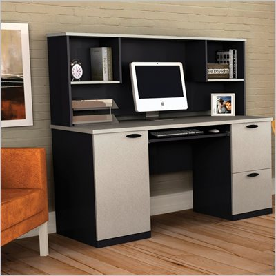 Bestar Hampton Office Computer Wood Desk with Hutch in Sand Granite &amp; Charcoal