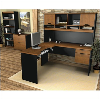 Bestar Innova L-Shape Desk Set in Tuscany Brown