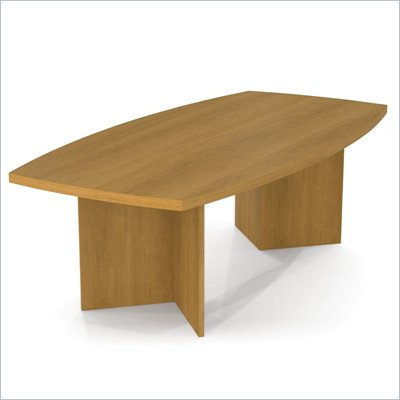 Bestar Meeting Solutions 8' Boat Shaped Light Board Top Conference Table in Cappuccino Cherry