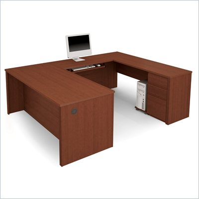 Bestar Prestige + U-Shape Wood Computer Desk with Pedestal