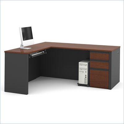Bestar Prestige + Computer L-Desk Set in Bordeaux &amp; Graphite