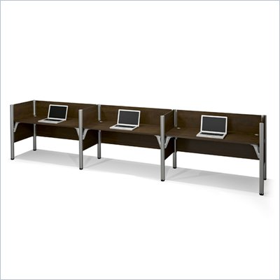 Bestar Pro-Biz Triple Side by Side Desk in Chocolate