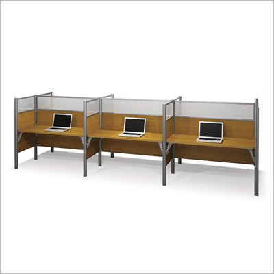 Bestar Pro-Biz Six Workstations in Cappuccino Cherry