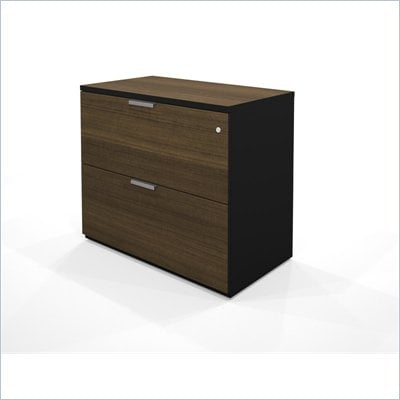 Bestar Pro-Concept Assembled Lateral File in in Black &amp; Milk Chocolate