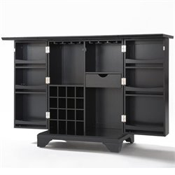 Crosley Furniture LaFayette Expandable Home Bar Cabinet in Black Finish