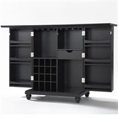 Crosley Furniture Cambridge Expandable Bar Cabinet in Black Finish
