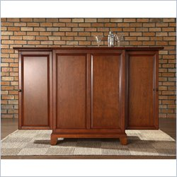 Crosley Furniture Newport Expandable Bar Cabinet in Classic Cherry Finish