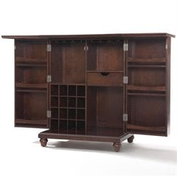 Crosley Furniture Cambridge Expandable Home Bar Cabinet in Vintage Mahogany
