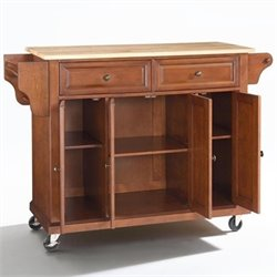 Crosley Furniture Natural Wood Top Kitchen Cart in Classic Cherry Finish