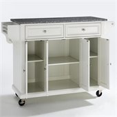 Crosley Furniture Solid Granite Top Kitchen Cart in White Finish