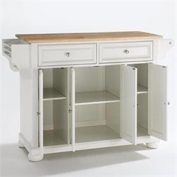 Crosley Furniture Alexandria Natural Wood Top Kitchen Island in White Finish