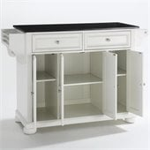 Crosley Furniture Alexandria Solid Black Granite Top Kitchen Island in White Finish