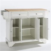 Crosley Furniture LaFayette Natural Wood Top Kitchen Island in White Finish