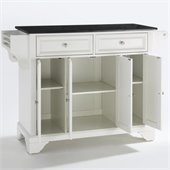 Crosley Furniture LaFayette Solid Black Granite Top Kitchen Island in White Finish