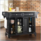 Crosley Furniture Newport Natural Wood Top Kitchen Island in Black
