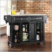 Crosley Furniture Newport Stainless Steel Top Kitchen Island in Black Finish