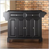 Crosley Furniture Newport Solid Black Granite Top Kitchen Island in Black Finish