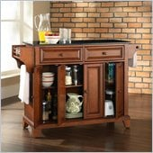 Crosley Furniture Newport Solid Black Granite Top Kitchen Island in Classic Cherry Finish