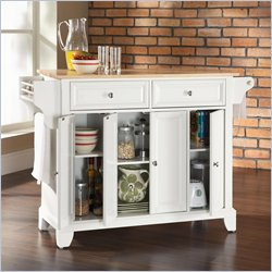 Crosley Furniture Newport Natural Wood Top Kitchen Island in White Finish
