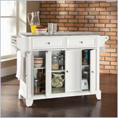 Crosley Furniture Newport Solid Granite Top Kitchen Island in White Finish