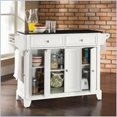 Crosley Furniture Newport Solid Black Granite Top Kitchen Island in White Finish