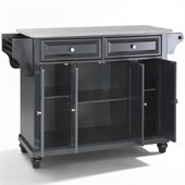 Crosley Furniture Cambridge Stainless Steel Top Kitchen Island in Black Finish