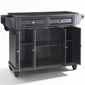 Crosley Furniture Cambridge Solid Black Granite Top Kitchen Island in Black Finish