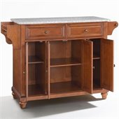 Crosley Furniture Cambridge Solid Granite Top Kitchen Island in Classic Cherry Finish