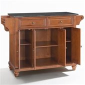 Crosley Furniture Cambridge Solid Black Granite Top Kitchen Island in Classic Cherry Finish