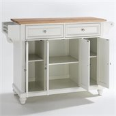 Crosley Furniture Cambridge Natural Wood Top Kitchen Island in White Finish