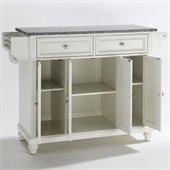 Crosley Furniture Cambridge Solid Granite Top Kitchen Island in White Finish