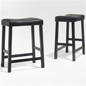Crosley Furniture Counter Height Upholstered Saddle Seat Bar Stool in Black Finish