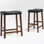 Crosley Furniture Counter Height Upholstered Saddle Seat Bar Stool in Classic Cherry Finish