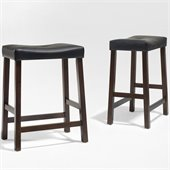 Crosley Furniture Counter Height Upholstered Saddle Seat Bar Stool in Vintage Mahogany Finish