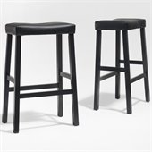 Crosley Furniture Bar Height Upholstered Saddle Seat Bar Stool in Black Finish