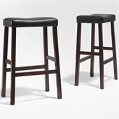 Crosley Furniture Bar Height Upholstered Saddle Seat Bar Stool in Vintage Mahogany Finish