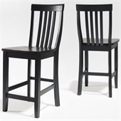 Crosley Furniture Counter Height School House Bar Stool in Black Finish