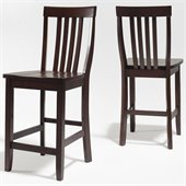 Crosley Furniture Counter Height School House Bar Stool in Vintage Mahogany Finish