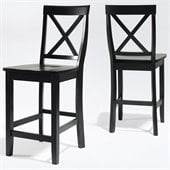 Crosley Furniture Counter Height X-Back Bar Stool in Black Finish