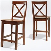 Crosley Furniture Counter Height X-Back Bar Stool in Cherry Finish