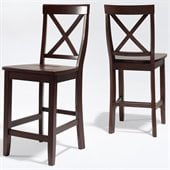 Crosley Furniture Counter Height X-Back Bar Stool in Mahogany Finish