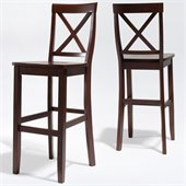 Crosley Furniture Bar Height X-Back Bar Stool in Mahogany Finish