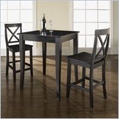 Crosley Furniture 3 Piece Pub Dining Set with Cabriole Leg and X-Back Stools in Black Finish