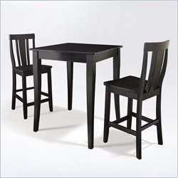 Crosley Furniture 3 Piece Pub Dining Set with Cabriole Leg and Shield Back Stools in Black Finish