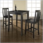 Crosley Furniture 3 Piece Pub Dining Set with Cabriole Leg and School House Stools in Black Finish